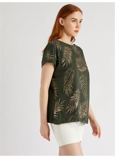 Vekem-Limited Edition Sim Baskılı Pamuklu Bluz Yeşil